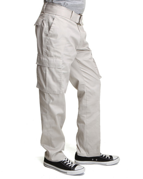 Basic Essentials - Men Khaki Cargo Pocket Pants With Belt
