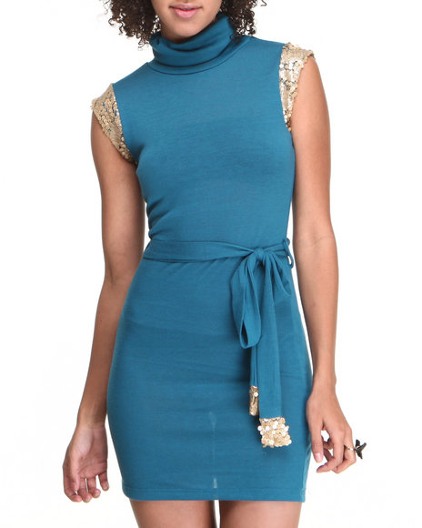 Fashion Lab - Women Blue Sleeveless Turtleneck Dress