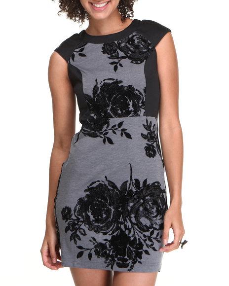 Fashion Lab Grey Body Con Floral Contrast Dress
