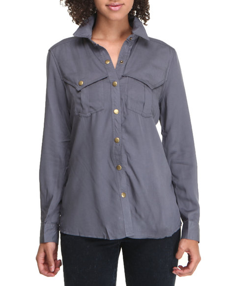 Basic Essentials - Women Grey Long Sleeve Button