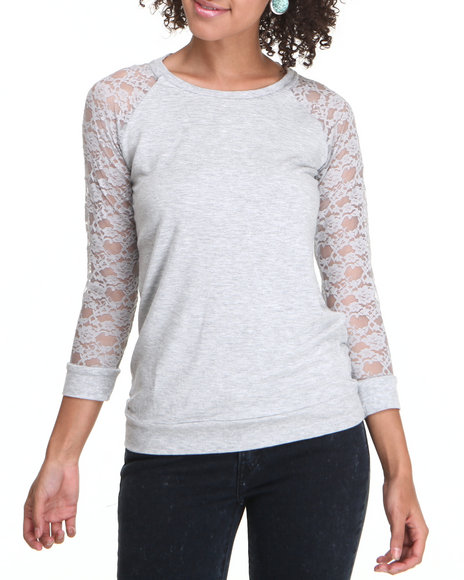 Fashion Lab - Women Grey Lace Sleeve Pullover - $9.99