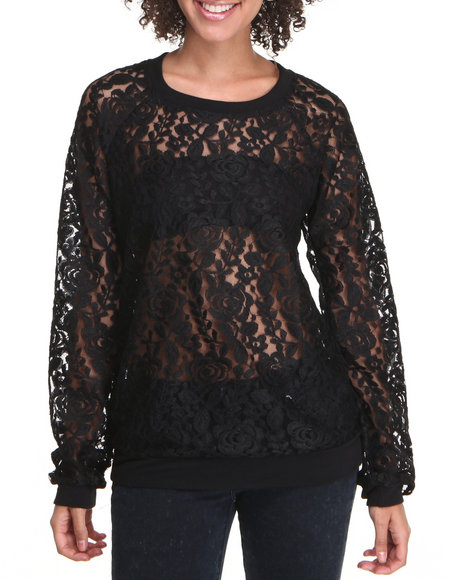 Fashion Lab - Women Black Black Rose Lace Pullover - $12.99