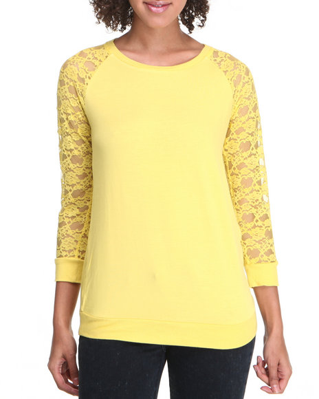 Fashion Lab - Women Yellow Lace Sleeve Pullover - $8.99