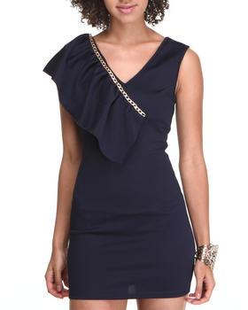 Fashion Lab - Chain Short Sleeve Body Con Dress w/ruffle