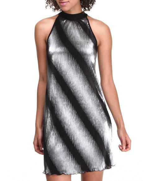 Fashion Lab Silver Trapeze Foil Dress