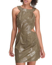 Women - Faux Suede Skin Detal Dress w/side cutouts