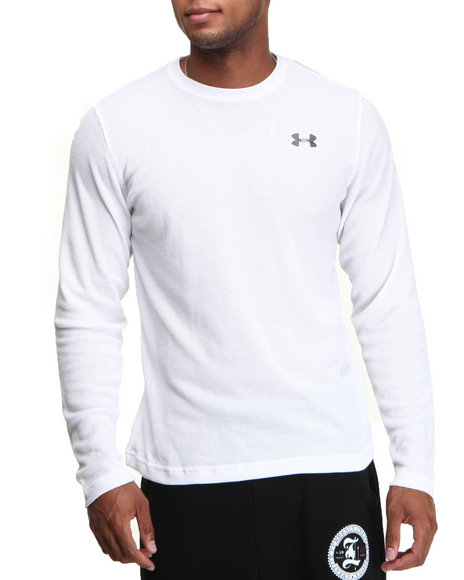 Under Armour - Men White Waffle Crewneck L/S Shirt