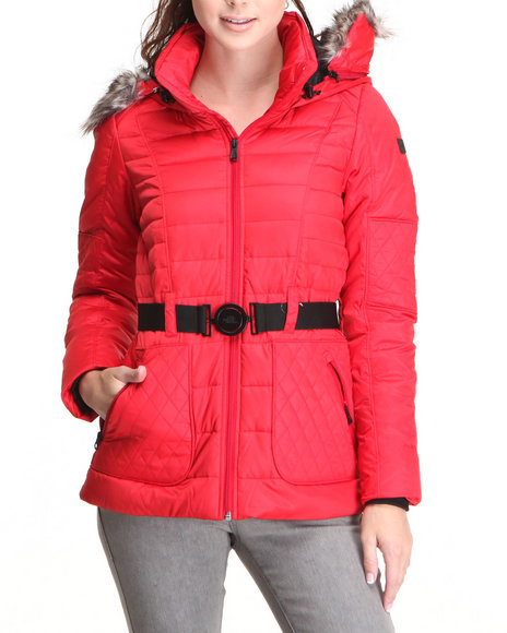 The North Face Red Parkina Down Jacket