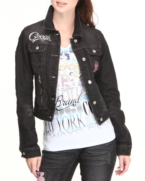Coogi - Women Black Coogi Jean Jacket