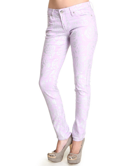 Basic Essentials - Women Purple Foil Print Jean