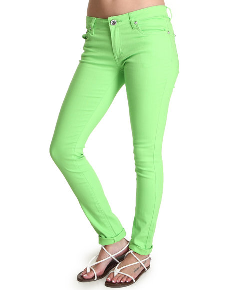 Basic Essentials - Women Green Skinny Jean Pants - $15.99