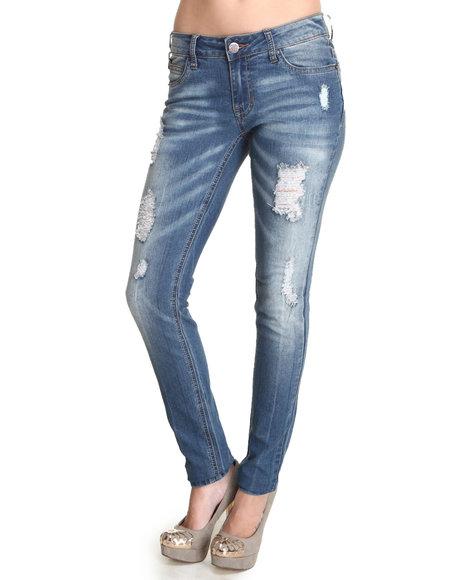 Basic Essentials - Women Blue Destructed Skinny Jean