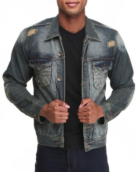 Buyers Picks Men Cross Front Denim Jacket Medium Wash Large