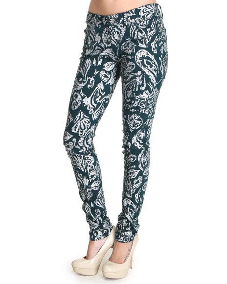 Basic Essentials - Women Green Foil Print Jean