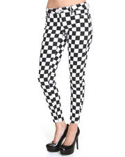 Jeans - Checkered Printed Pants