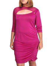 Women - Mesh Trim Draped Dress (PLUS)