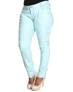 Basic Essentials - Paisley Foil Skinny Jeans (plus)