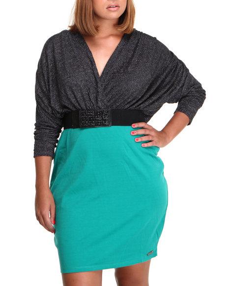 Apple Bottoms - Women Black Twofer Belted Dress (Plus)