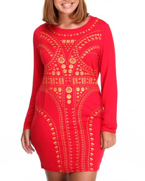 Apple Bottoms - Women Red Long Sleeve Sexy Vogue Dress (Plus)
