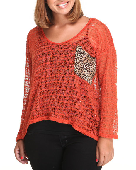 Apple Bottoms - Women Red Animal Print Back Fashion Top (Plus) - $10.99