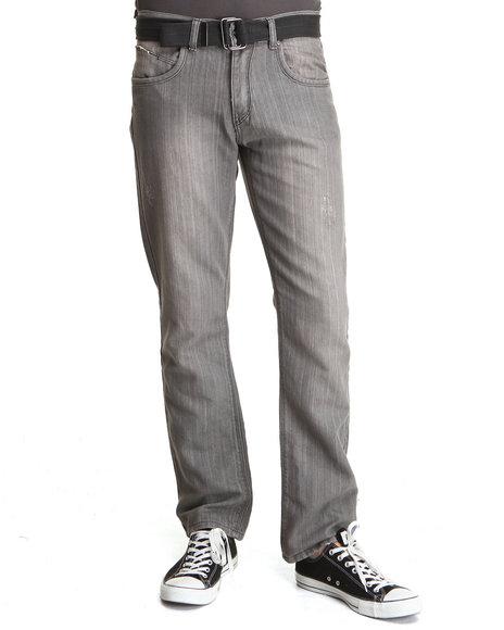 Basic Essentials Grey Belted Denim Jeans