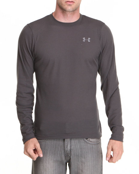 Ur-ID 222843 Under Armour - Men Grey Waffle Crewneck L/S Shirt