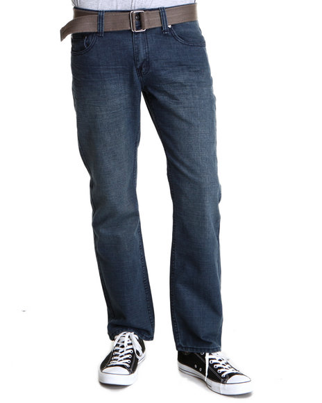 Basic Essentials - Men Medium Wash Demo Belted Denim Jeans