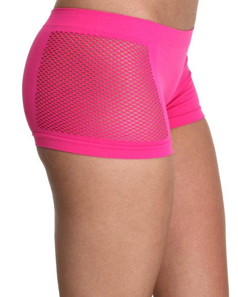 Drj Lingerie Shoppe - Women Pink Fishnet Sides Seamless Boyshort