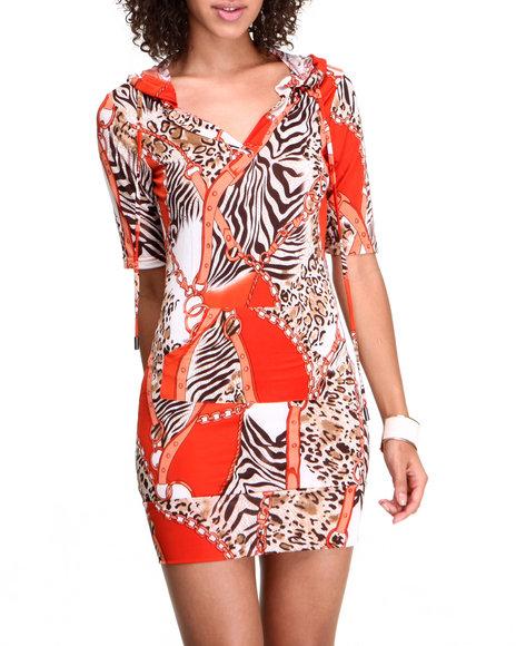 Apple Bottoms - Women Orange Animal Colorblock Printed Hoodie Dress