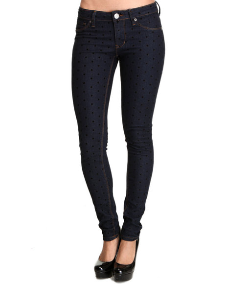 Basic Essentials - Women Indigo Stars Pants W/Flocking Detail