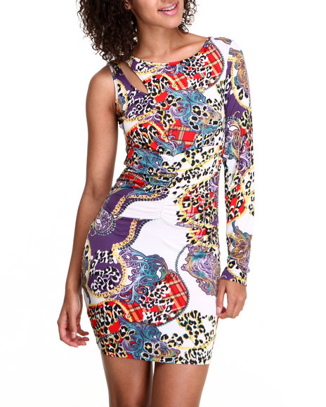 Apple Bottoms - Women Animal Print Power Mesh Back Leopard Print Dress