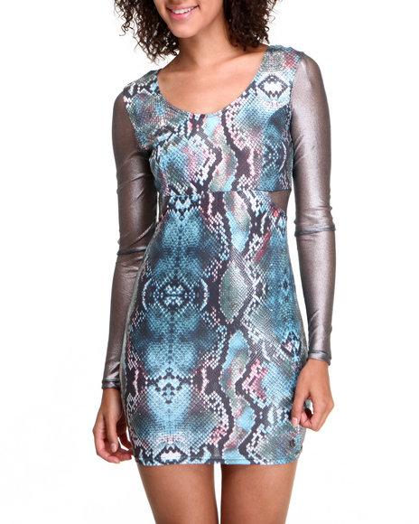 Apple Bottoms - Women Animal Print Python Printed Dress