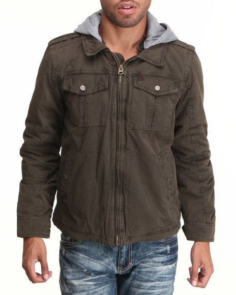 Levi's Olive Washed Cotton 2 Pocket Hoodie Jacket