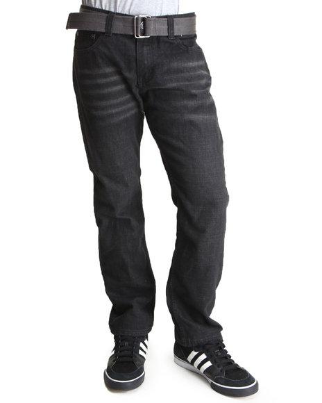 Basic Essentials Black Belted Cross Stitch Denim Jeans