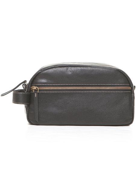 Timberland Men Antique Leather Travel Kit Bag Black 1SZ