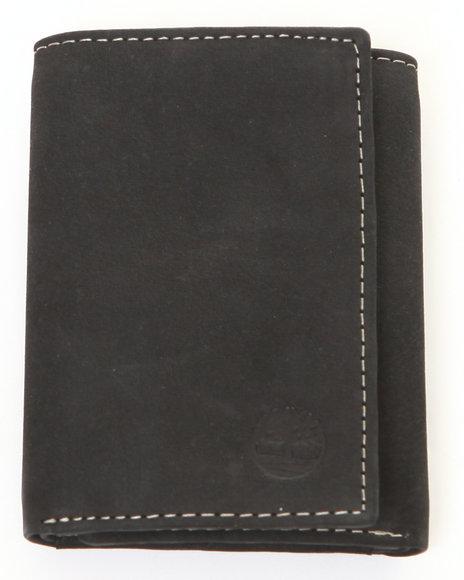 Timberland Men Buff Nubuck Slim Trifold Black Wallet Black 1SZ