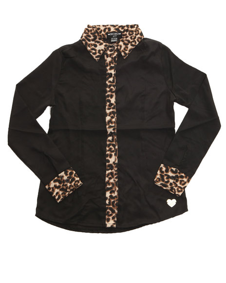 XOXO Girls Black Chiffon Woven W/ Leopard Trim (7-16)