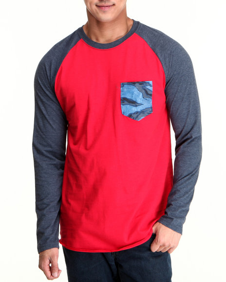Hurley Red Flammo Pocket Raglan Tee