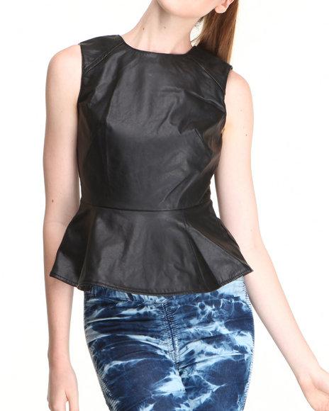 Fashion Lab Black Vegan Leather Peplum Top
