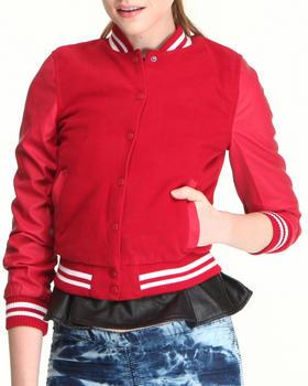 Fashion Lab - Wool and Vegan Leather Varsity Jacket