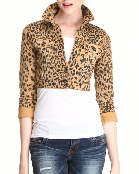Dollhouse Animal Print Cheetah Print Cropped Jacket