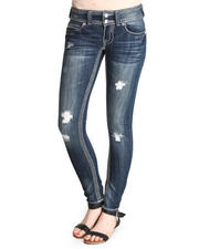 Jeans - Distructed Saddle Stitching Flap Pockets Skinny Jean