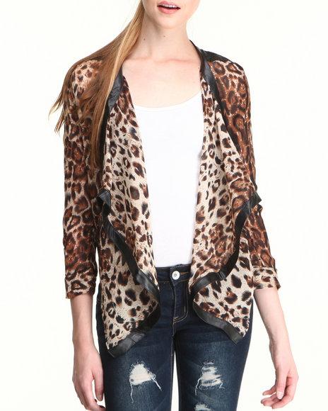Fashion Lab - Women Brown Animal Print Chiffon Blazer - $16.99