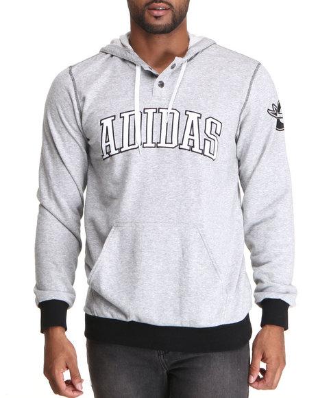 Adidas - Men Grey Varsity Pullover Hoodie - $40.99
