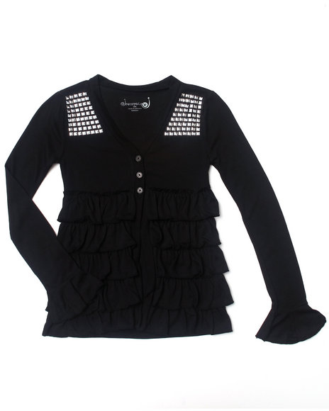 La Galleria Girls Black Ruffle Cardigan (7-16)