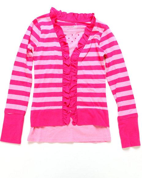 La Galleria - Girls Pink Striped Cozy Twofer W/ Studs (7-16)