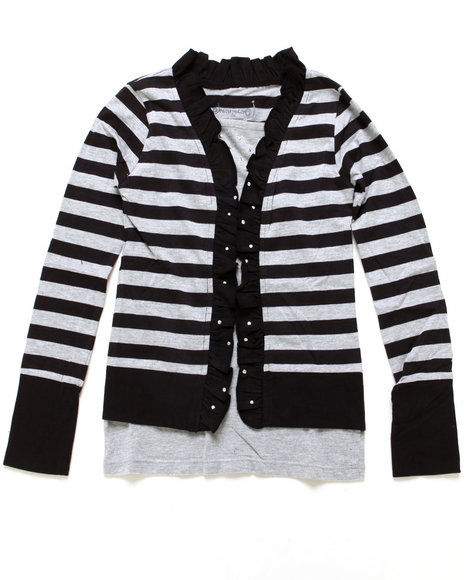 La Galleria Girls Black Striped Cozy Twofer W/ Studs (7-16)