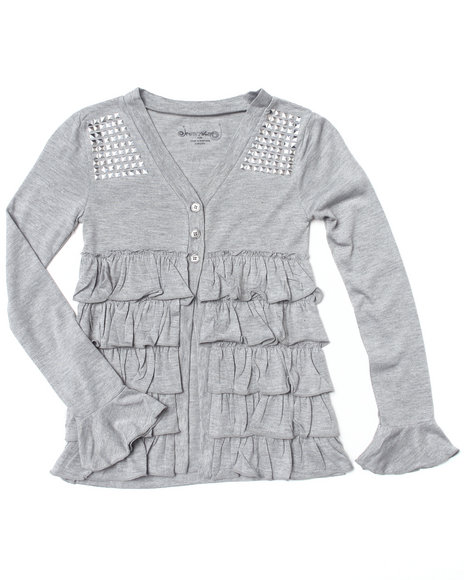 La Galleria Girls Light Grey Ruffle Cardigan (7-16)