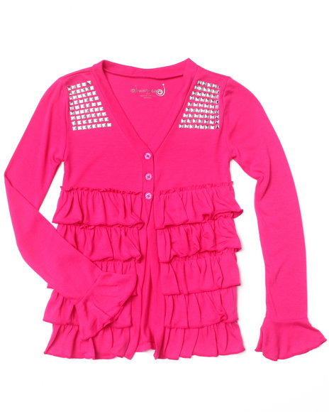La Galleria Girls Pink Ruffle Cardigan (7-16)