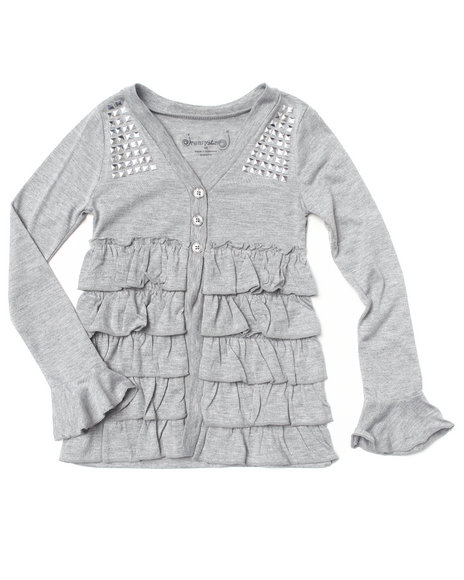 La Galleria Girls Ruffle Cardigan 46X Light Grey 5